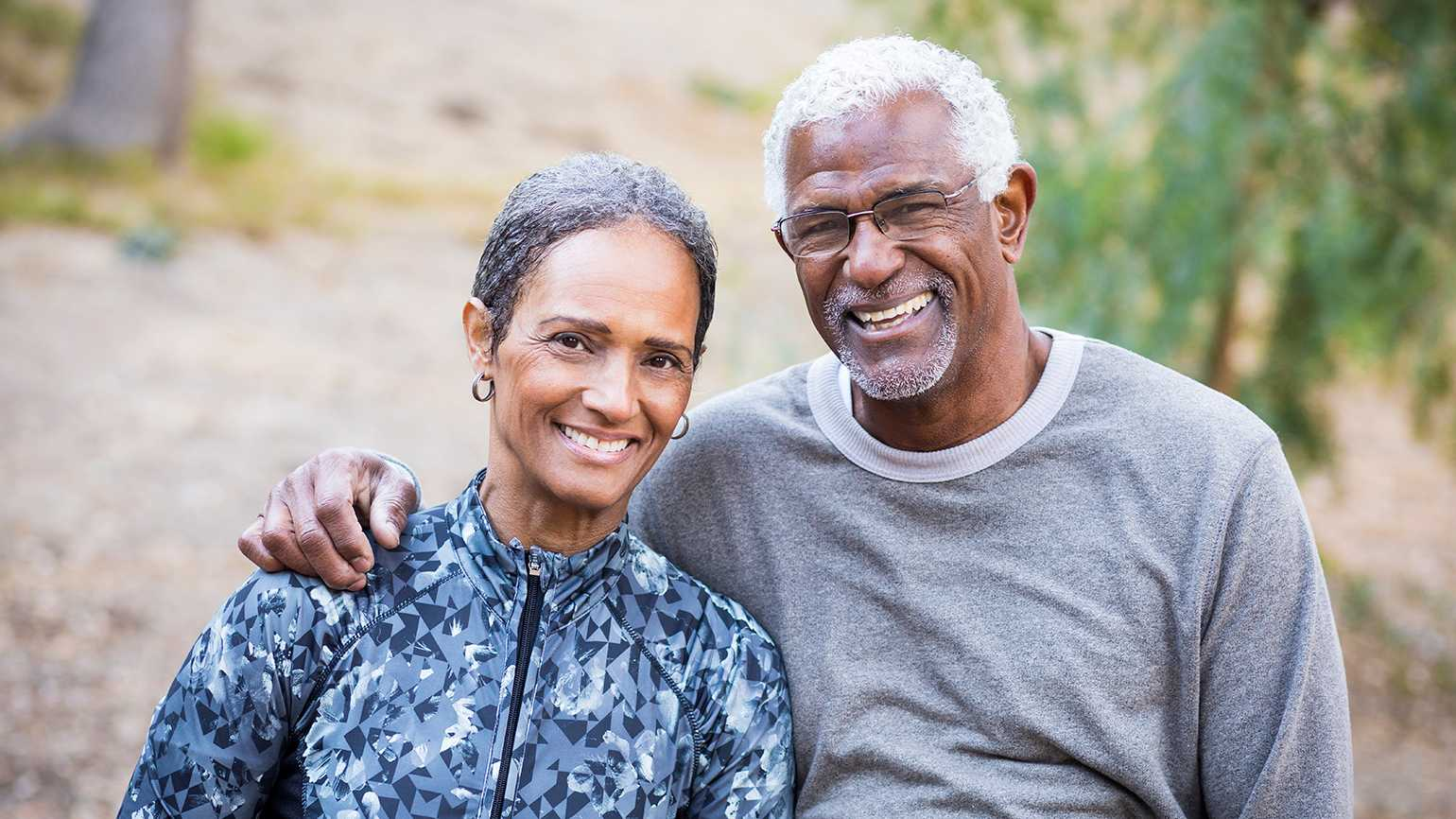 A smiling senior couple