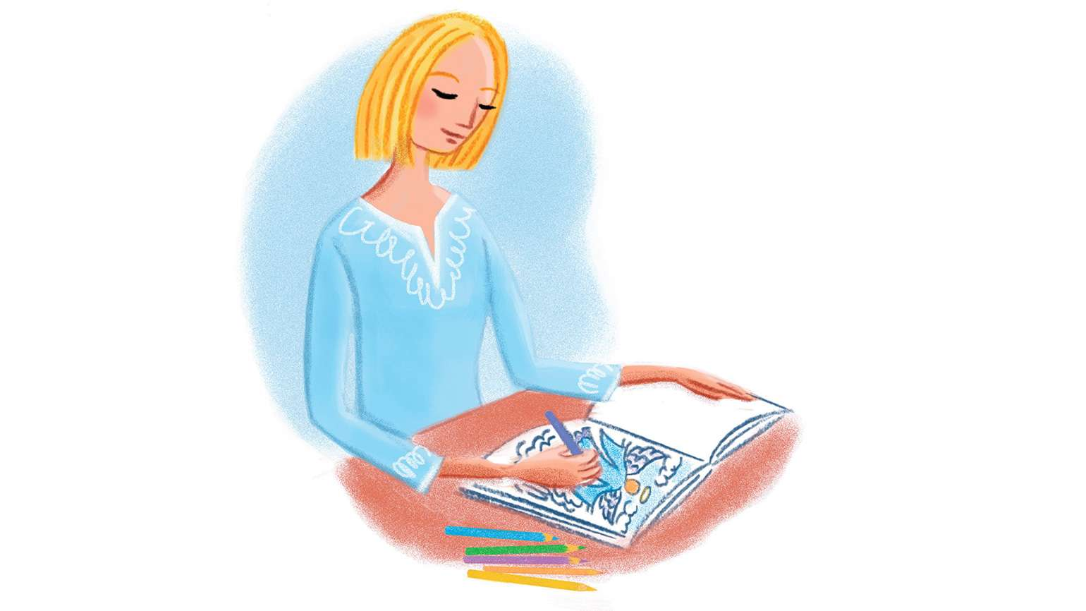 A young woman smiles serenely as she colors in a coloring book