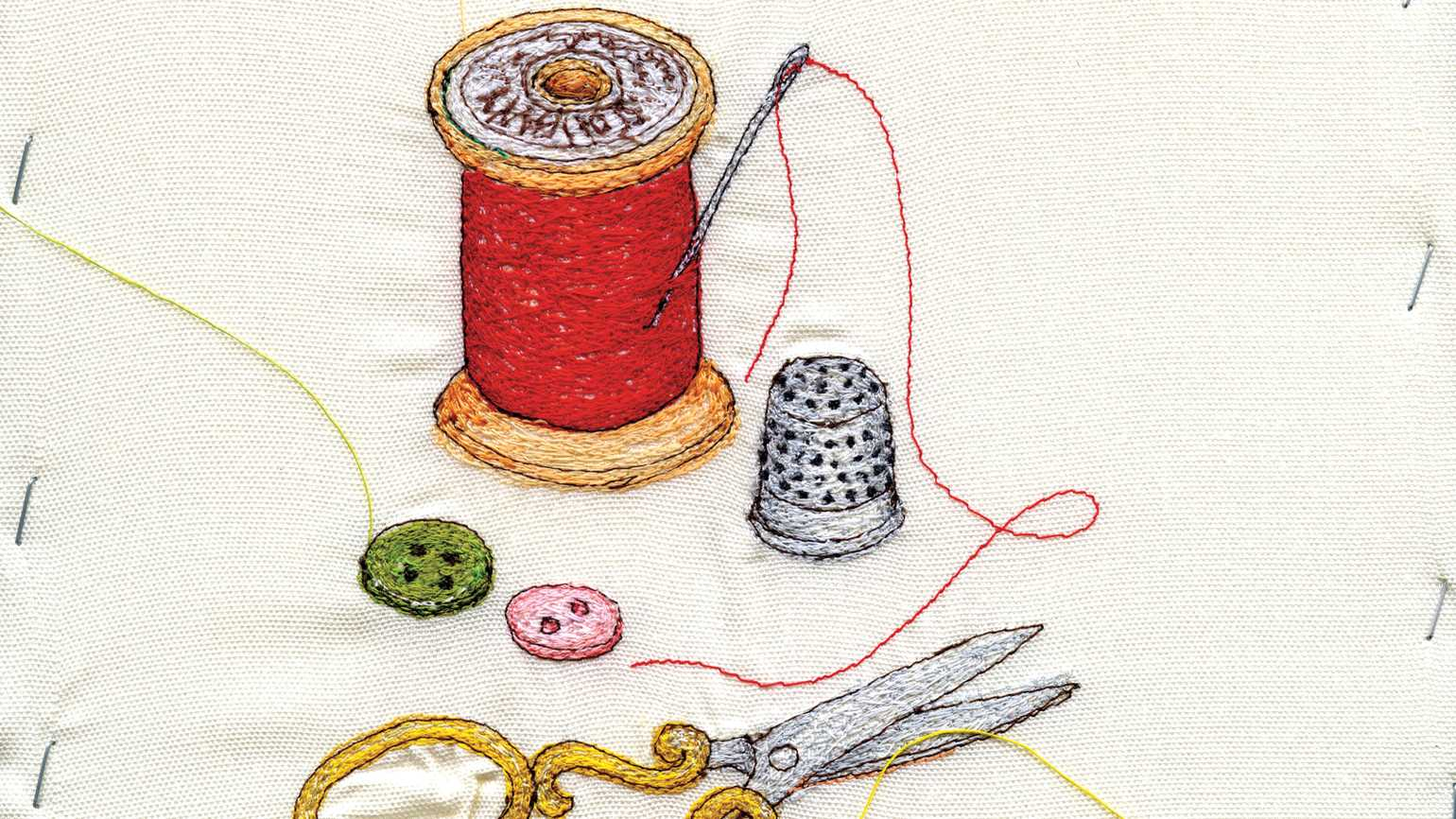 An artist's rendering of sewing materials; Illustration by Miyuki Sakai