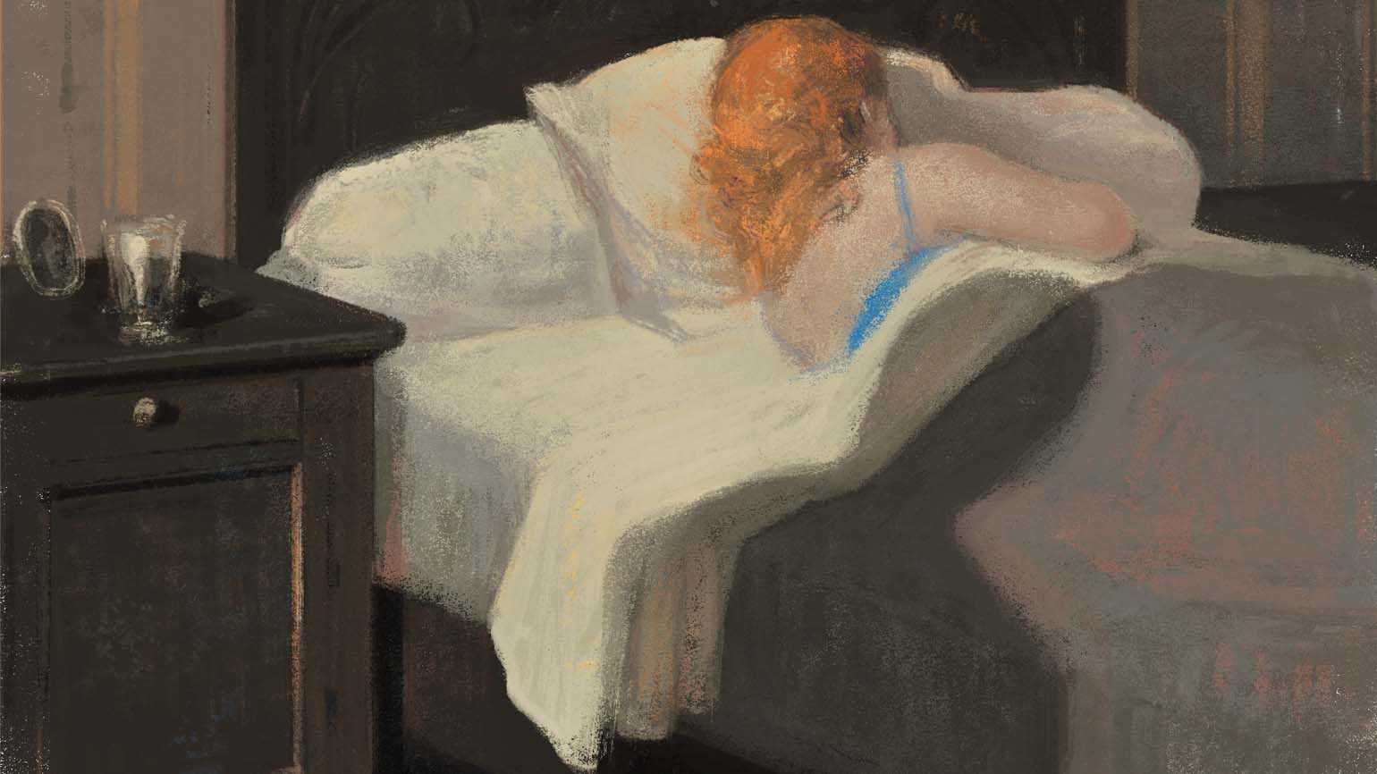 An illustration of a woman sleeping in her bed; Illustration By GÉRARD DUBOIS