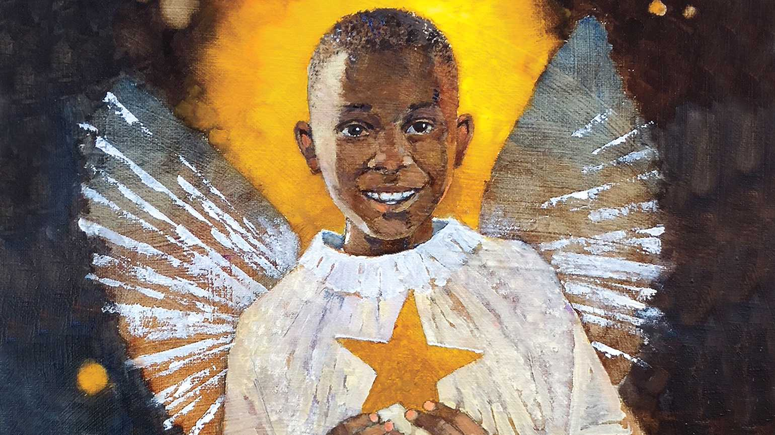 An artist's rendering of a young boy in a angel's costume