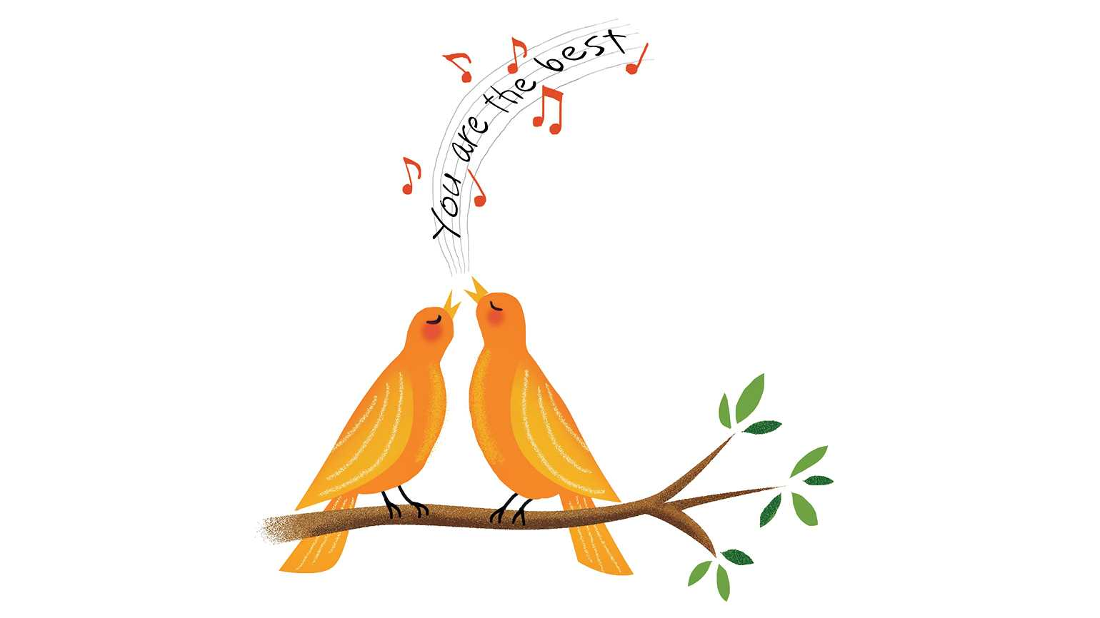 Two songbirds singing.