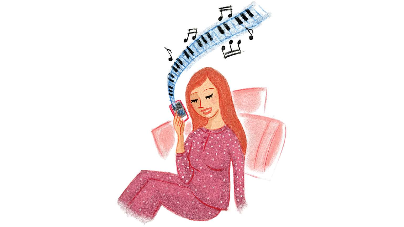 An artist's rendering of a woman listening to comforting music on her phone