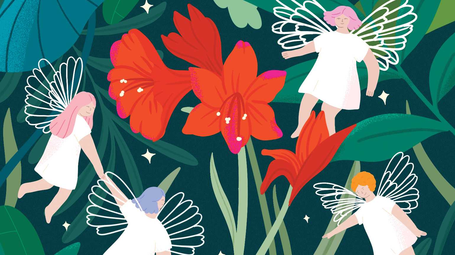 Four angels surrounding red flowers; Illustration by Lucila Perini