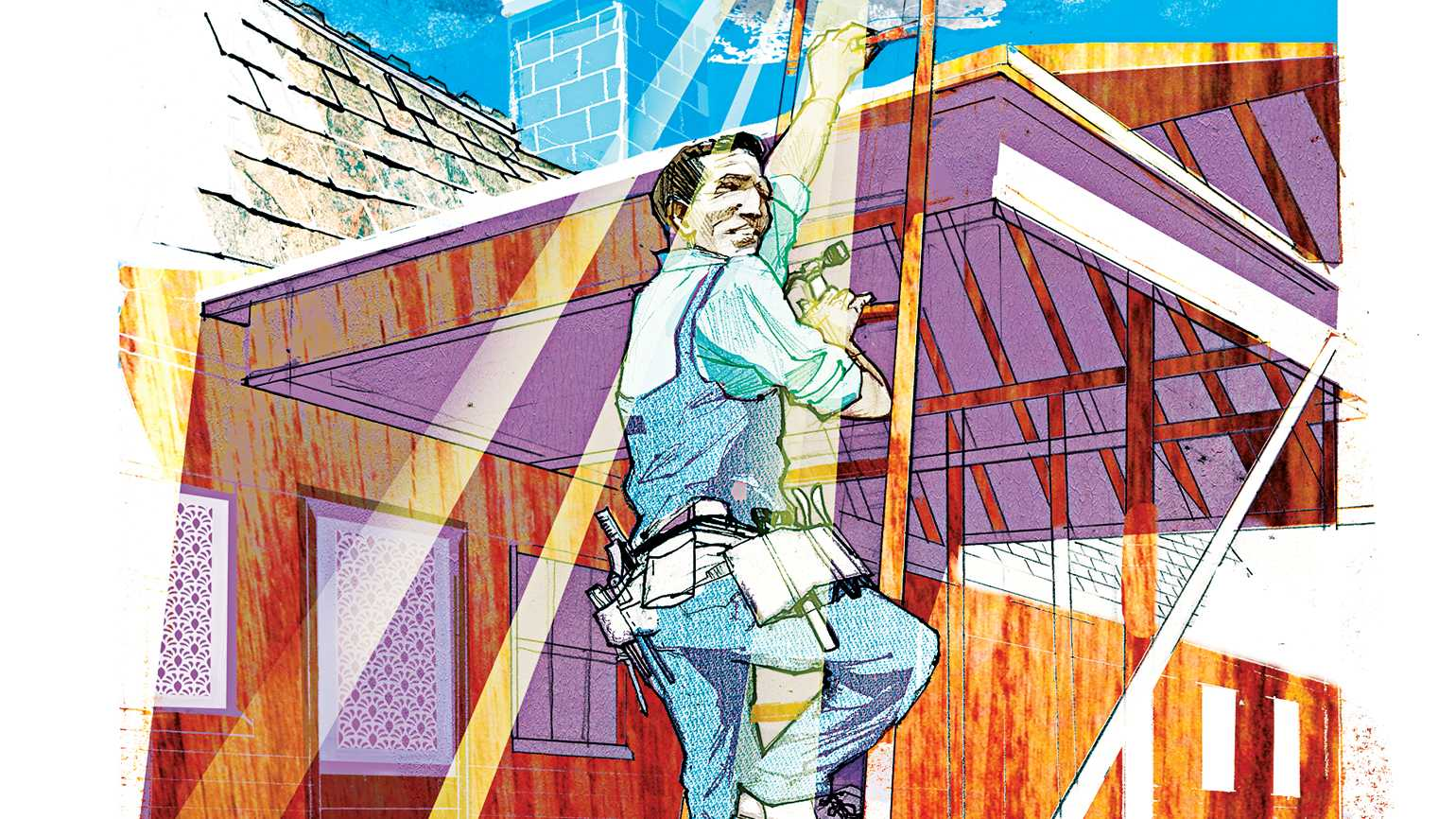 An illustration of a father climbing a ladder; Illustration by Alex Green