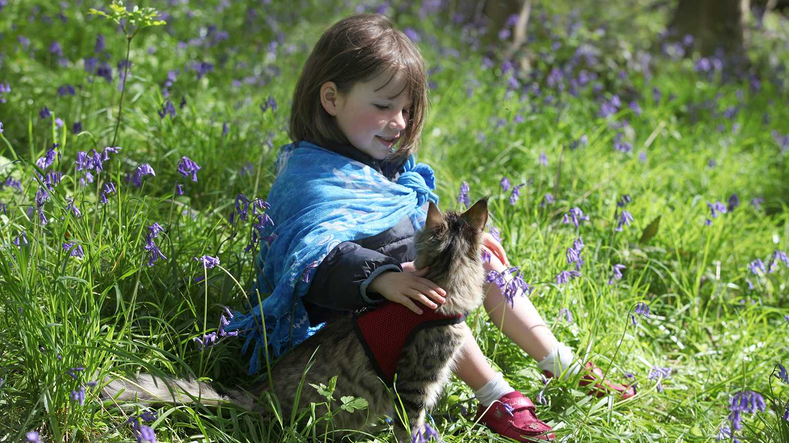 Iris and her pet cat, Thula