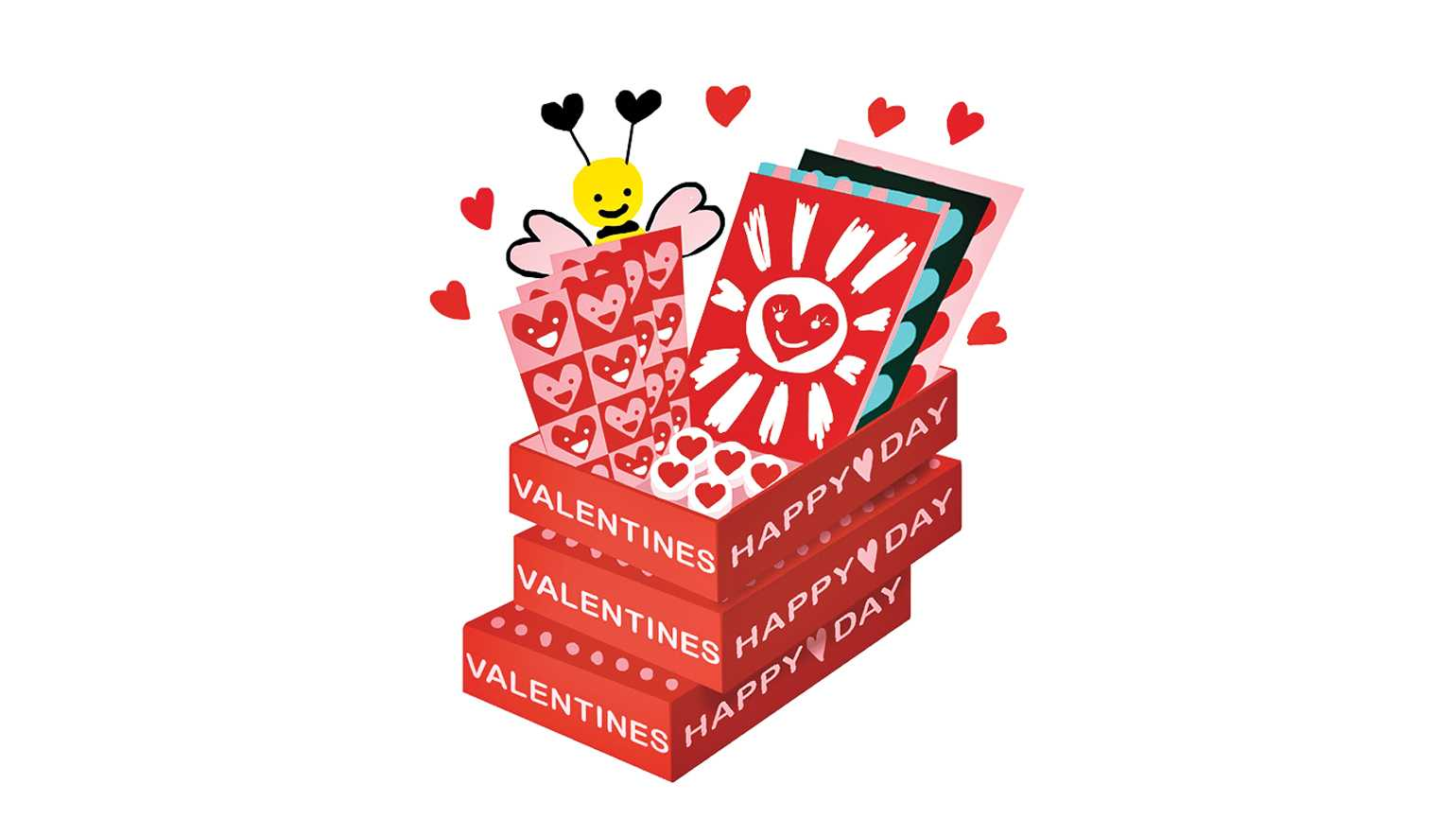 A stack of Valentine's Day card boxes; Illustration by Coco Masuda