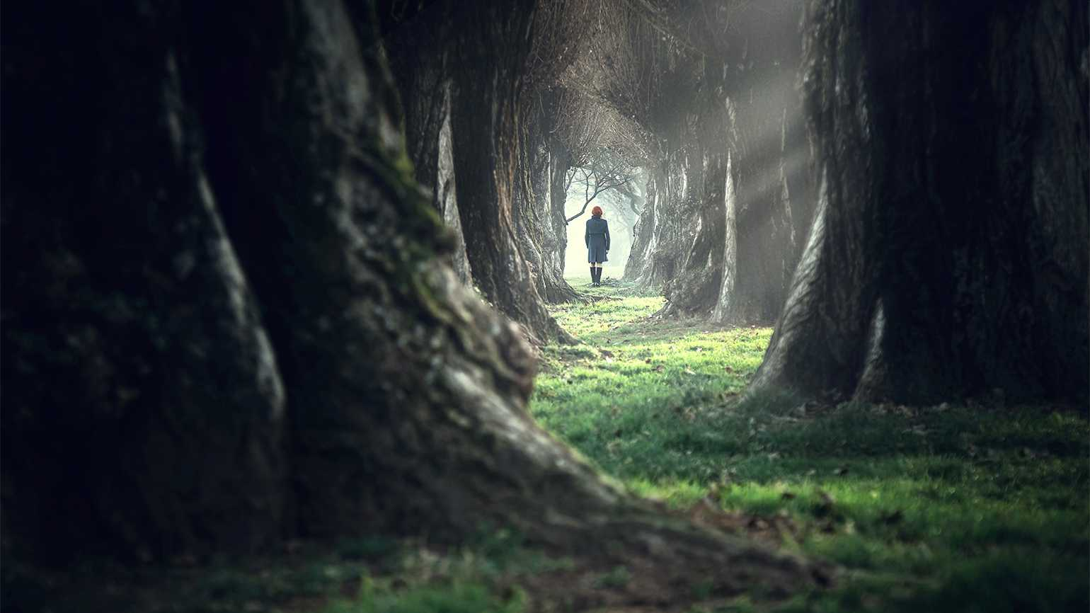 A woman walks in a dark forest