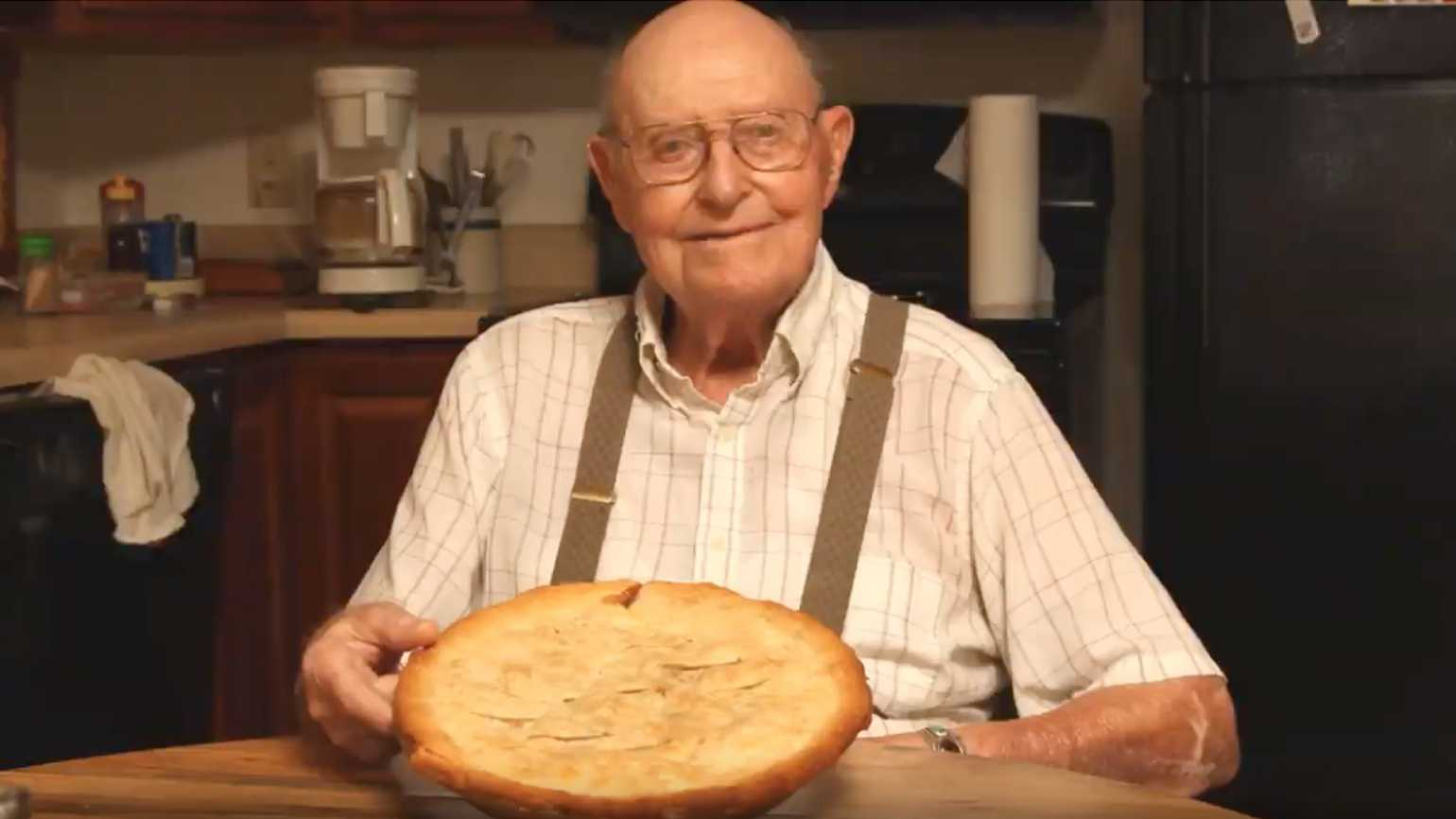 Art Barg and his seasonal green tomato pie.