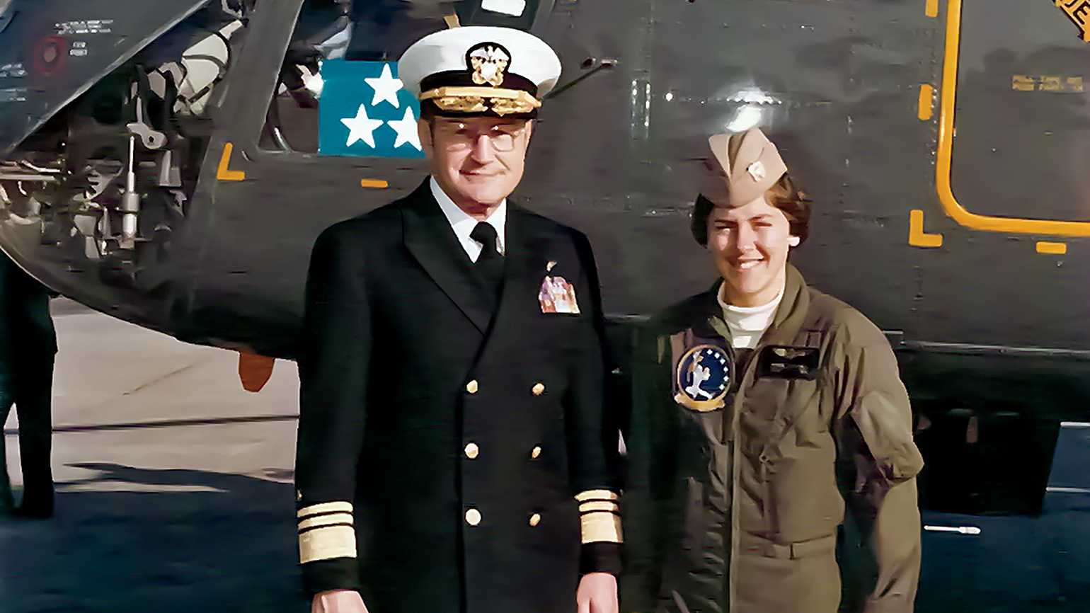 Capt. Wendy Lawrence and father Vice Admiral William Lawrence; photo courtesy Wendy Lawrence