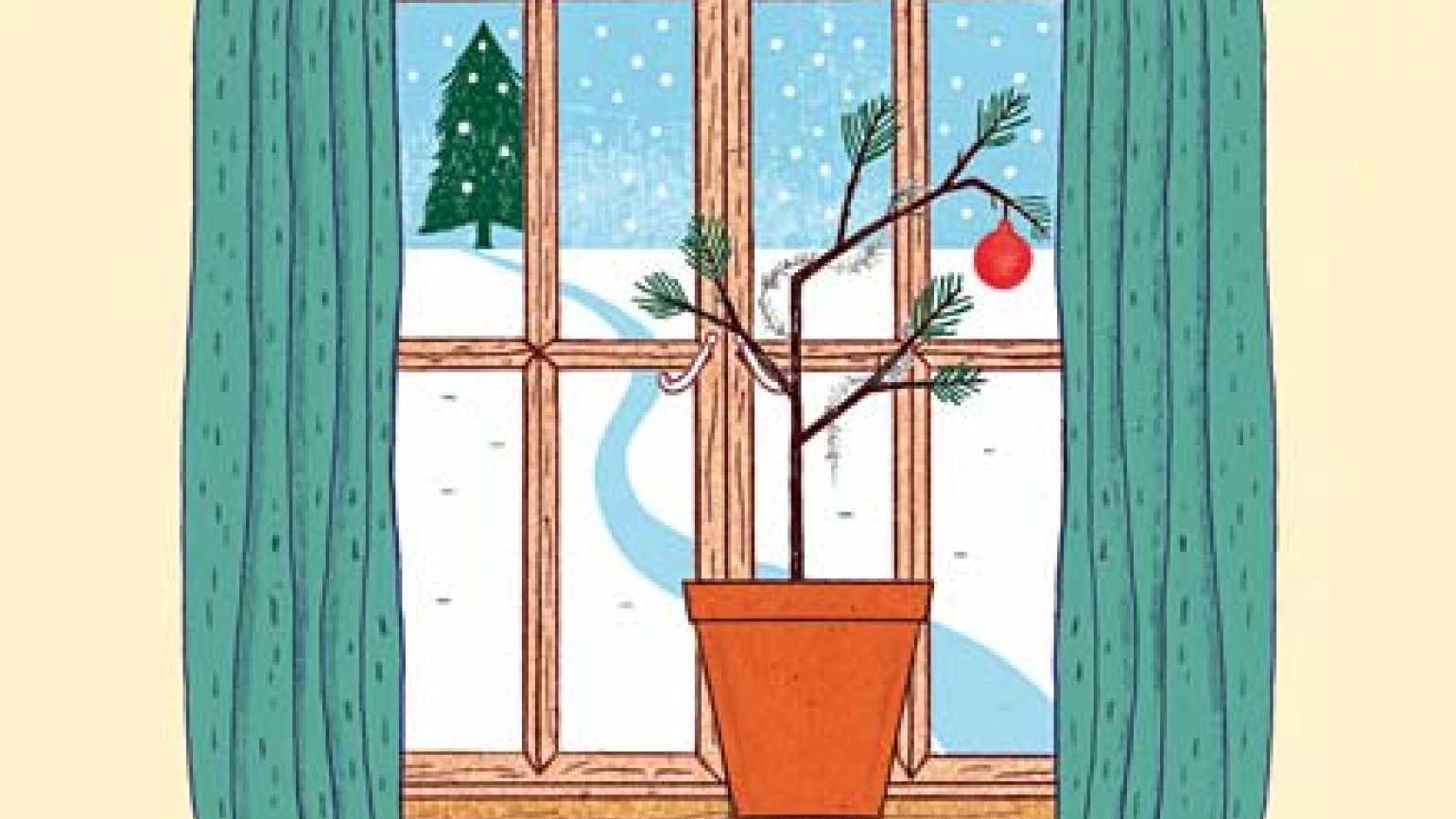 A tiny, sparse tree on a windowsill looks out on a snowy January day.