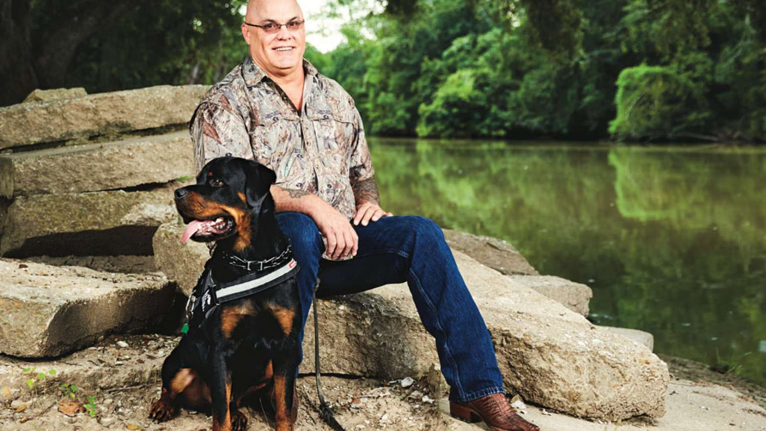 Wren and Beaux, a service dog specially trained for PTSD survivors