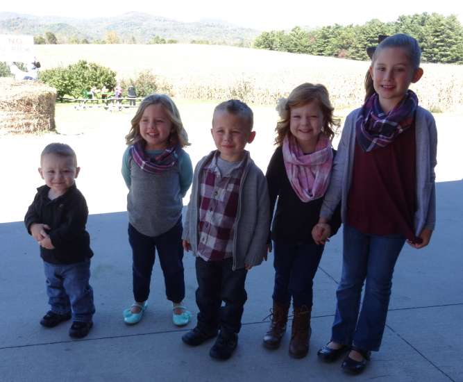 Michelle Cox's grandkids lined up in order of height