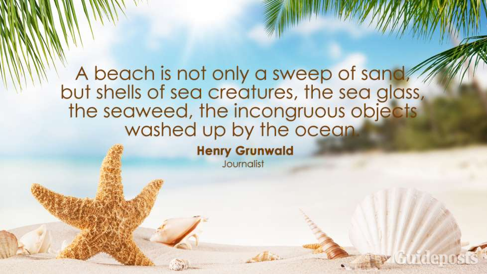 A beach is not only a sweep of sand, but shells of sea creatures, the sea glass, the seaweed, the incongruous objects washed up by the ocean. Henry Grunwald
