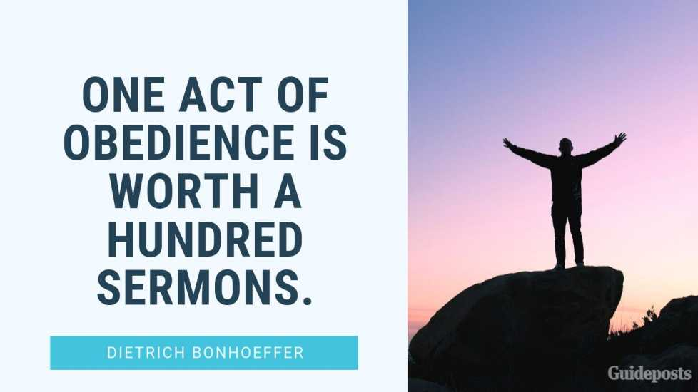 """7 Inspiring Quotes from Dietrich Bonhoeffer German Pastor """"One act of obedience is worth a hundred sermons."""" Inspiration Inspirational Stories of Faith"""