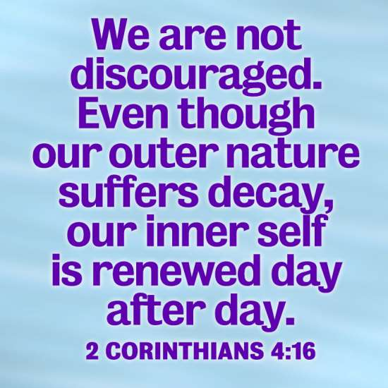 We are not discouraged. Even though our outer nature suffers decay, our inner nature is renewed day after day. 2 Corinthians 4:16