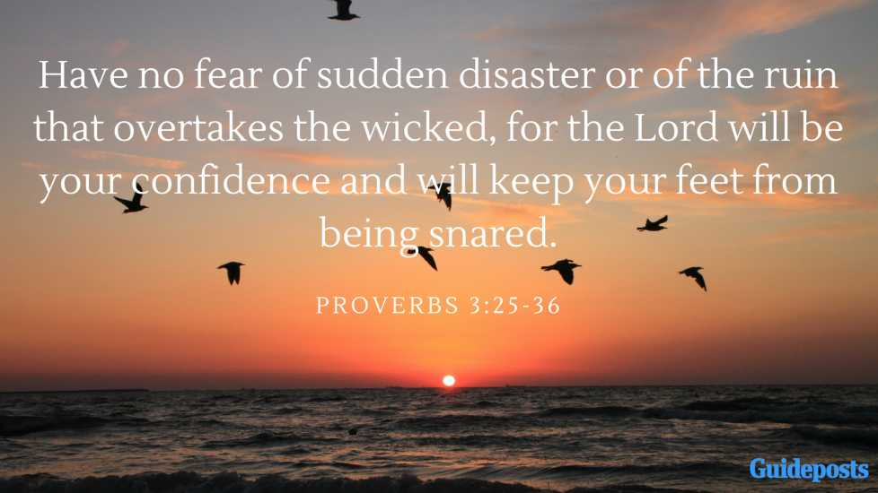 Have no fear of sudden disaster or of the ruin that overtakes the wicked, for the Lord will be your confidence and will keep your feet from being snared. Proverbs 3:25-36