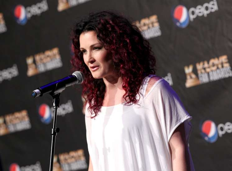 Christian singer Plum answers questions backstage at the K LOVE Fan Awards