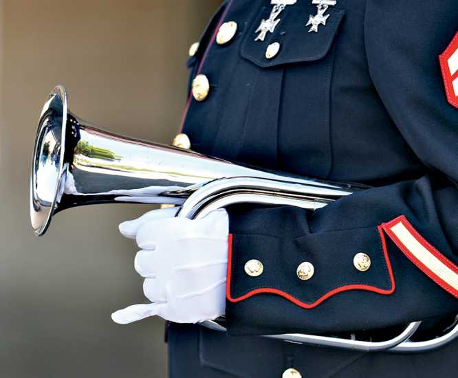 James LIndsay's bugle, tucked under his arm; photo by Karen Pulfer Focht