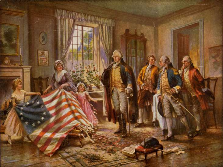Betsy Ross presenting the American Flag to General George Washington