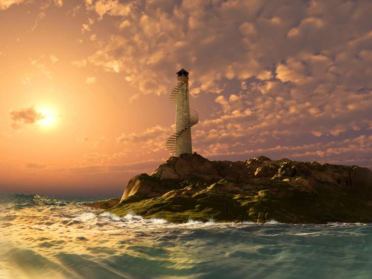 a lighthouse after a storm on the edge of the sea