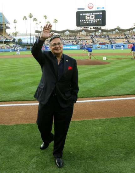 Jaime waves to the fans during the Dodgers' 50th anniversary in Los Angeles celebration