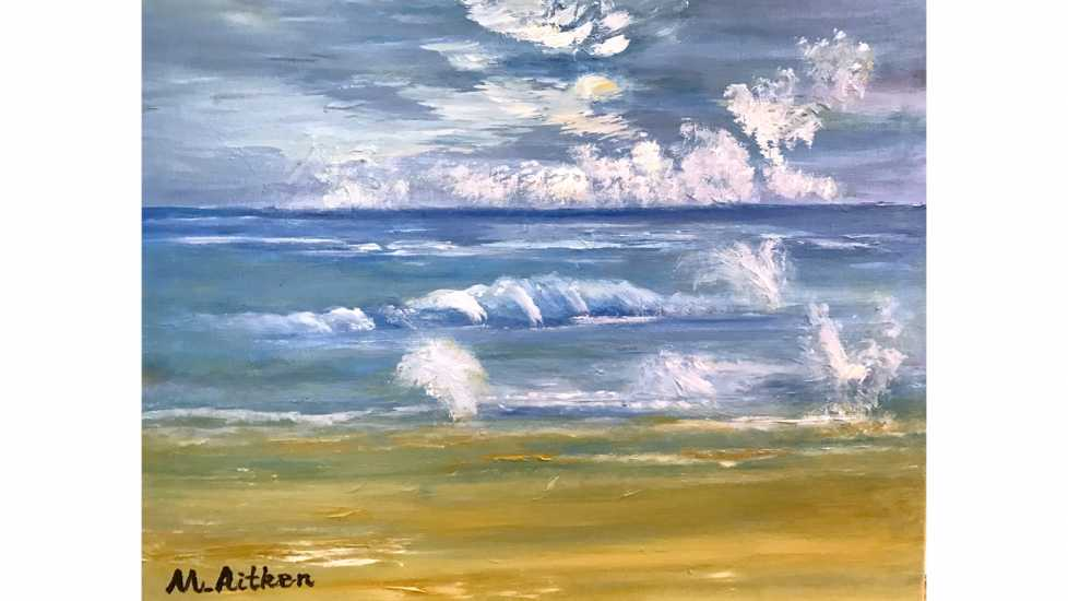 A painting with surprise angels on a beach landscape.
