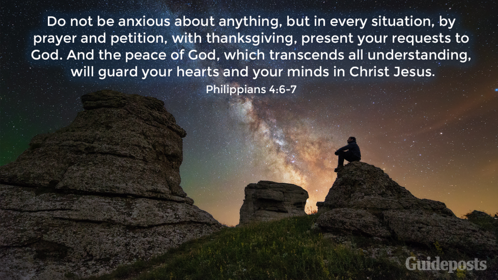 """7 Bible Verses for a Good Night's Sleep """"Do not be anxious about anything, but in every situation, by prayer and petition, with thanksgiving, present your requests to God. And the peace of God, which transcends all understanding, will guard your hearts and your minds in Christ Jesus."""" Faith Prayer Bible Resources"""