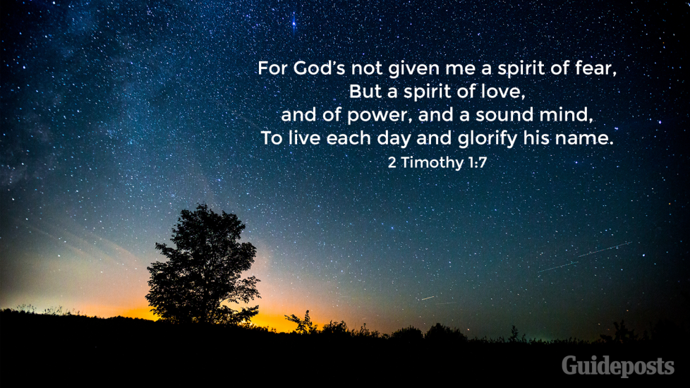 """7 Bible Verses for a Good Night's Sleep """"For God's not given me a spirit of fear,  But a spirit of love,  and of power, and a sound mind, To live each day and glorify his name.""""  2 Timothy 1:7 Faith and Prayer Bible Resources"""