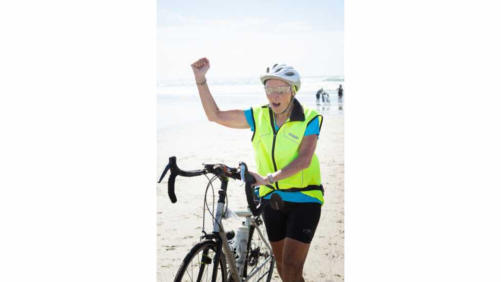 VICTORY! Carol Garsee, Cancer Survivor bikes to Pacific Ocean at San Diego.  better living health wellness living longer living better