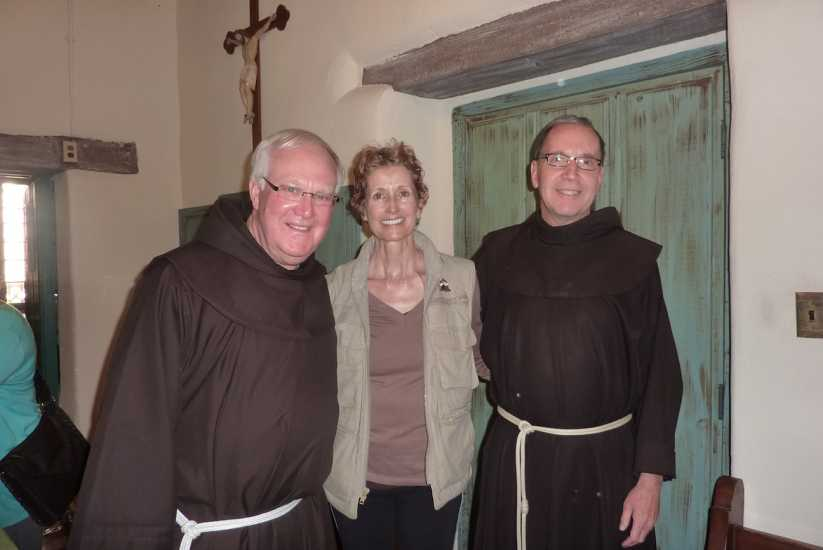 Day 18: Edie with Father Larry Gosselin, Associate Pastor, and Father Charles Talley, Pastor, at Mission Santa Barbara