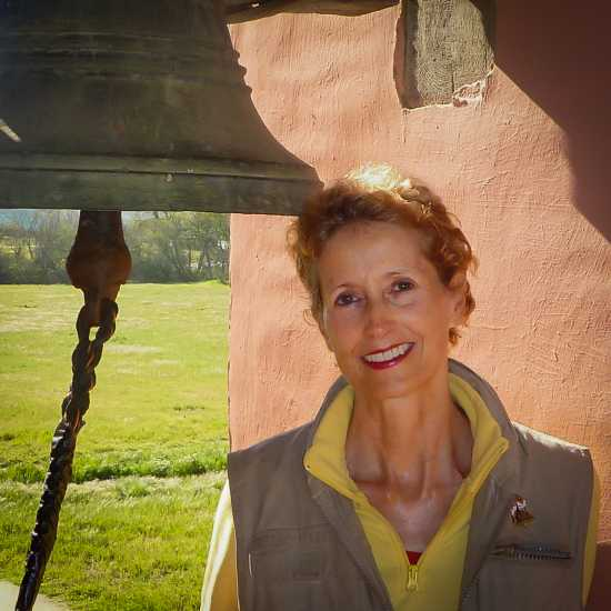 Day 23: Edie poses in the bell tower at Mission La Purisima, near Lompoc, California