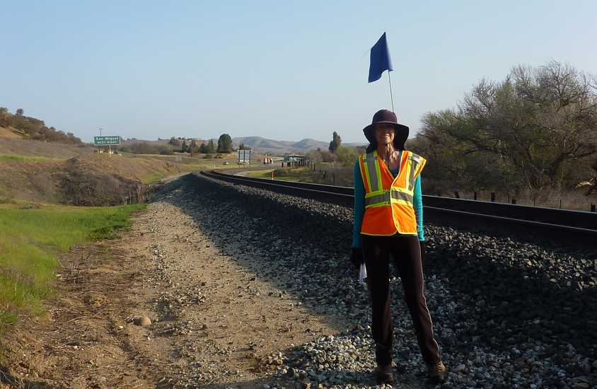 Day 31: Edie walks along the railroad path between Mission San Miguel and Nacimiento Lake