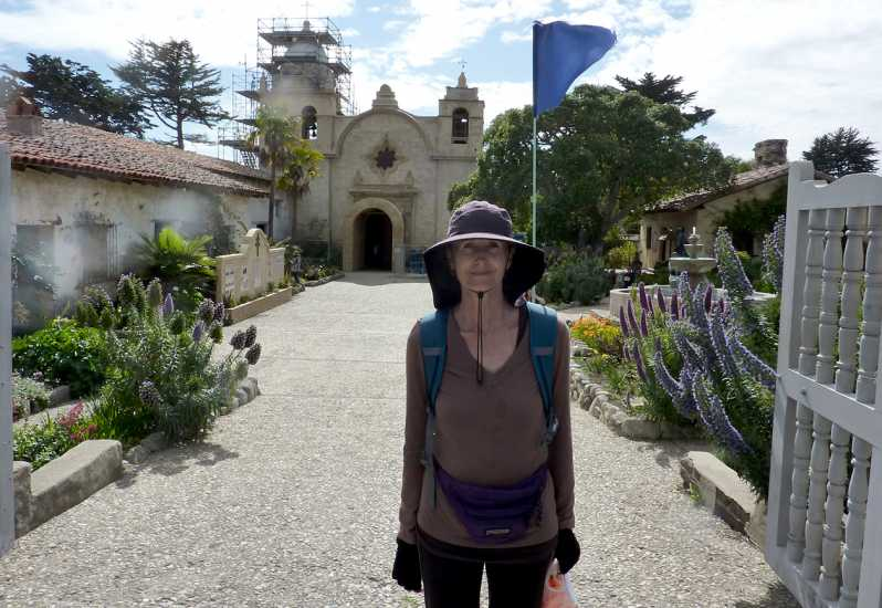 Day 40: Edie arrives at Carmel Mission after traveling 15 miles from Laguna Seca.
