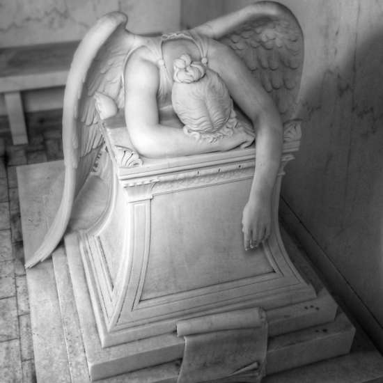 A grieving angel weeps over philanthropist Chapman H. Hyams' family tomb