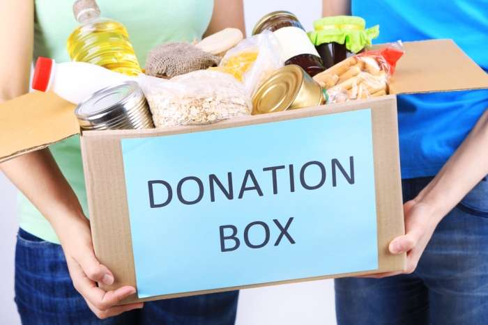 Donations for a food bank for Be an Angel Day