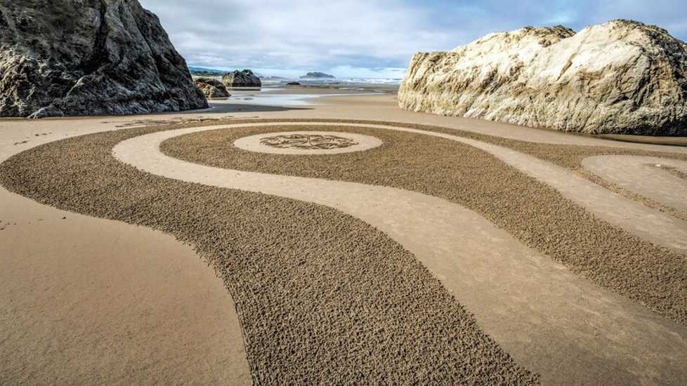 A dreamfield on an Oregon beach crafted by Denny Dyke.