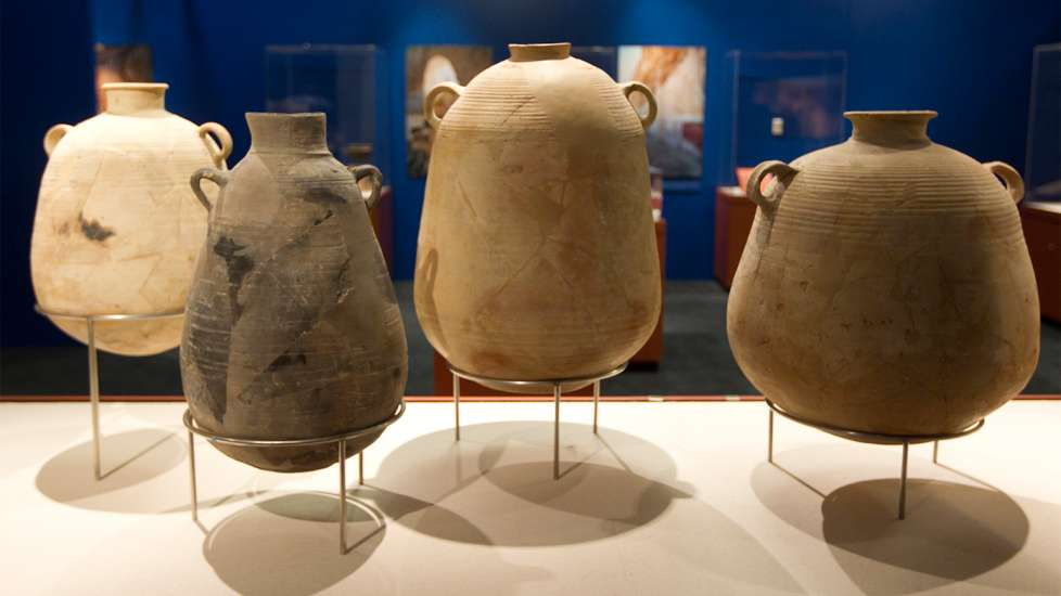 Some of the clay jars found in the caves of Qumran