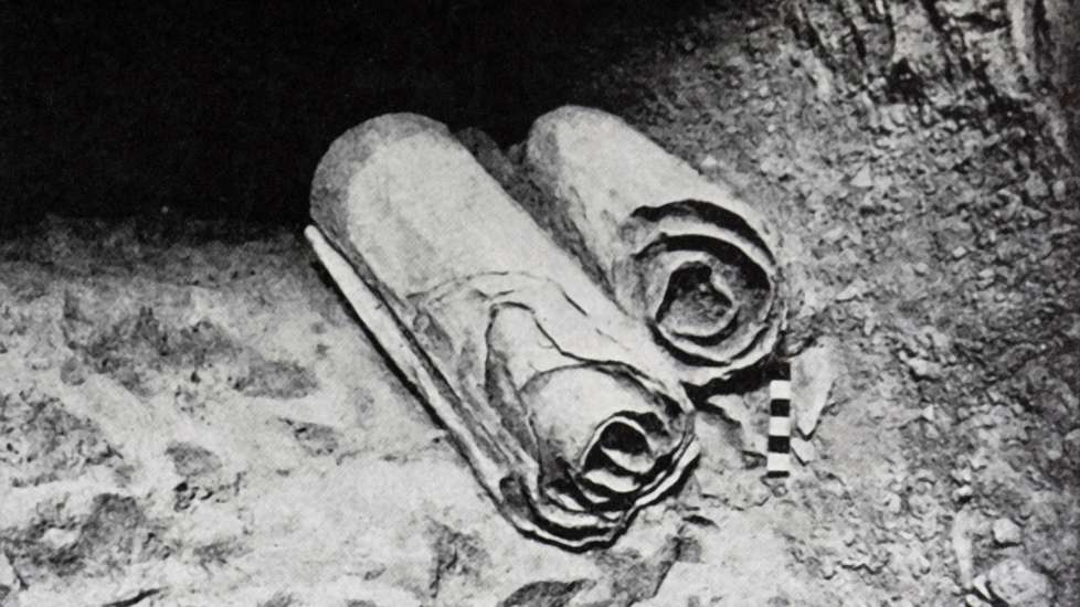 A pair of the scrolls found in the caves of Qumran