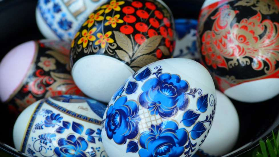 A close up of designed Easter eggs