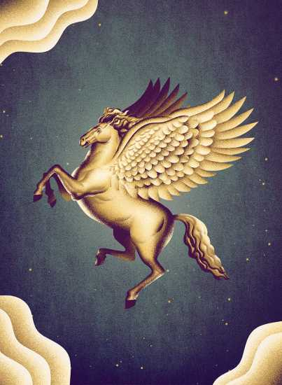 A subdued version of an angel Pegasus