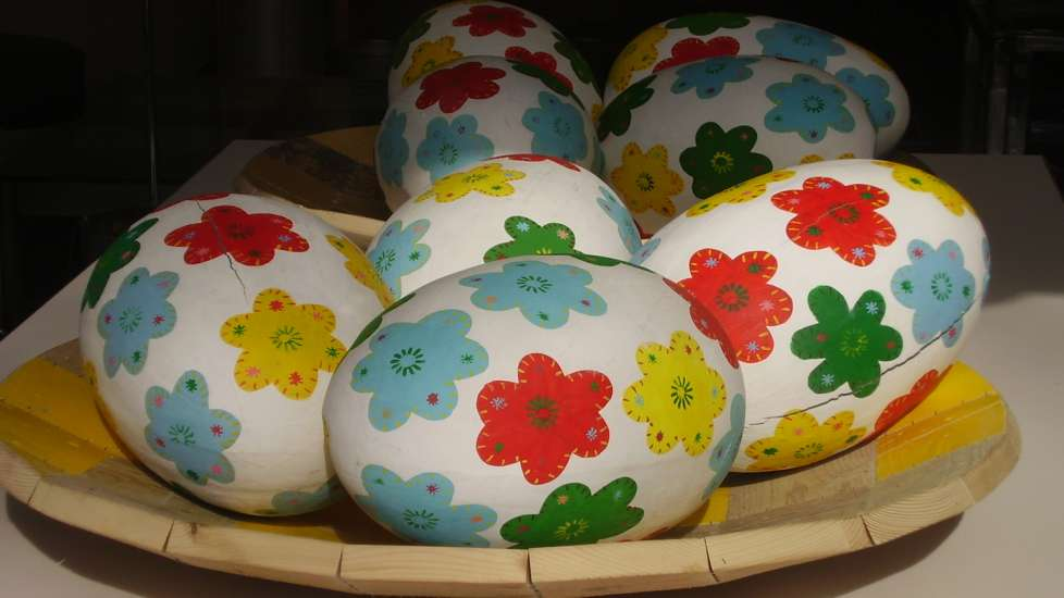 Large Easter eggs with a colorful floral design pattern from France