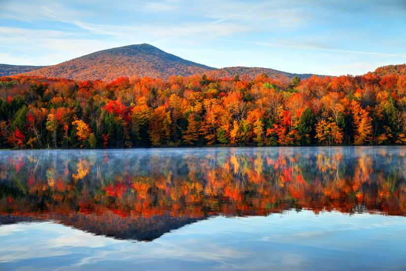 An autumn scene with changing leaves; Getty Images