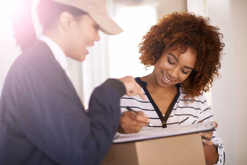 Woman accepting package