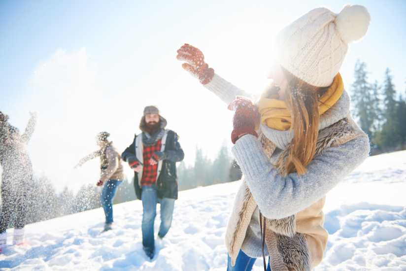 People playing in the snow