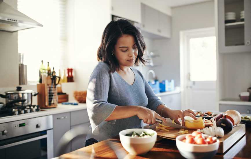 Woman cooking healthy meals