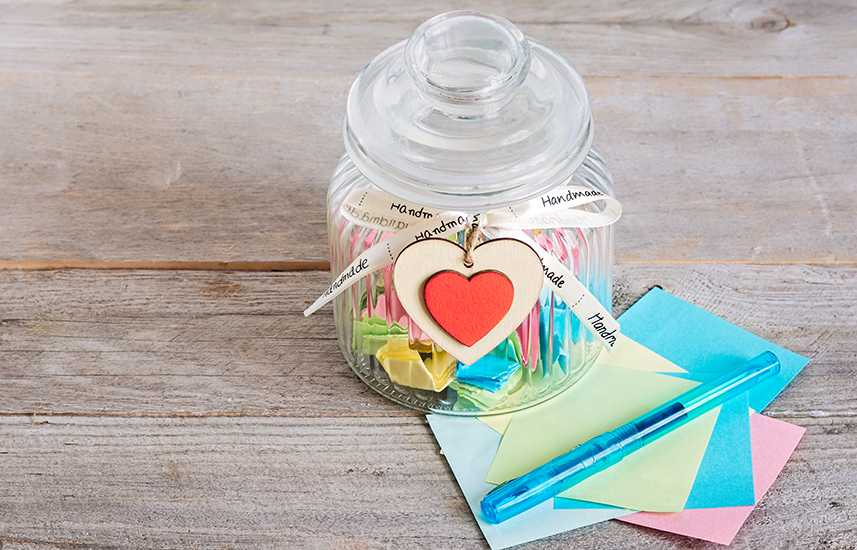 Handmade jar with notes inside