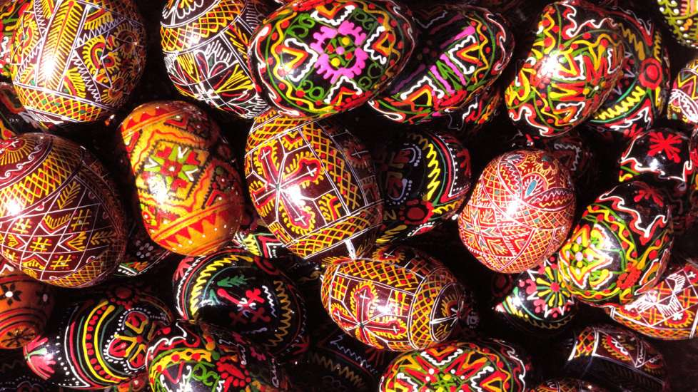 A collection of intricately patterned eggs from Athens, Greece