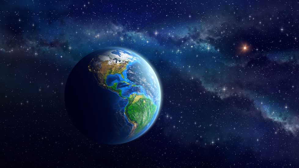 Imaginary view of the Earth in outer space. View of American continent. Elements of this image furnished by NASA