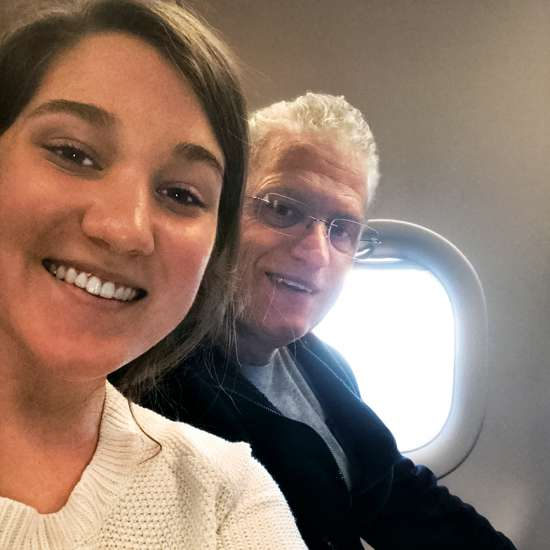 Alikay and her father on the flight to Reykjavik
